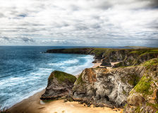 Dramatic coast landscape in Cornwall UK Stock Photos