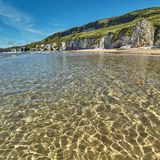 Dramatic coastline in Northern Ireland. Beach on a sunny day in White Rocks, Portrush, Northern Ireland Stock Images