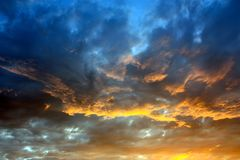 Dramatic color sky. Sunset Stock Photography