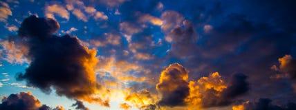 Colorful cloudy sky panorama Stock Photos