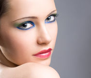 Dramatic colorful makeup girl. Royalty Free Stock Photography
