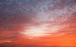 Dramatic colorful orange color sky with clouds in the evening Royalty Free Stock Photography