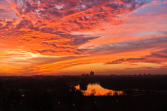 Dramatic colorful sunset over confluence of Danube and Sava river in Belgrade Stock Photos