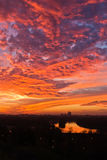 Dramatic colorful sunset over confluence of Danube and Sava river in Belgrade Royalty Free Stock Photo