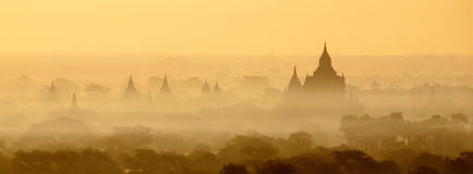 Bagan Temples in Mist at Sunrise Royalty Free Stock Image
