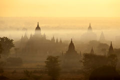 Bagan Temples in Mist at Sunrise Royalty Free Stock Photo