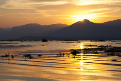 Sunset on Inle Lake Stock Image