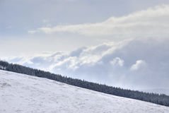 Dramatic coming of snow storm. In mountains Royalty Free Stock Photography