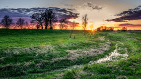 Dramatic Countryside Sunrise Sunset Stock Images
