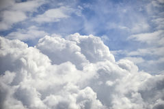 Dramatic cumulus clouds with high level cirrocumulus clouds for Stock Photo