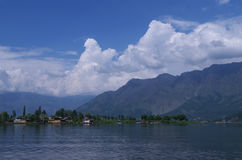 Dramatic Dal lake landscape-2. A beautiful and peaceful scene in the lake in Kashmir Royalty Free Stock Images