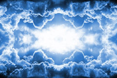 Dramatic dark blue clouds border Royalty Free Stock Photos