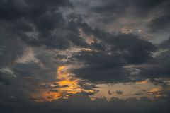 Dramatic dark cloudy sky before a thunderstorm. Moody cloudscape background stock images