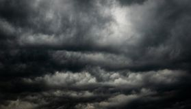 Dramatic Dark Sky And Clouds. Cloudy Sky Background. Black Sky Before Thunder Storm And Rain. Background For Death, Sad, Grieving Royalty Free Stock Photo