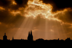 Dramatic dark sky and silhouette of ancient church Royalty Free Stock Photo