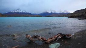 Dramatic dawn in Torres del Paine, Chile stock video footage