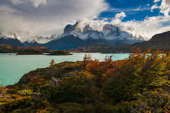 Dramatic dawn in Torres del Paine, Chile Stock Photography