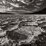 Dramatic Death Valley Landscape. Salt pans at Badwater basin in Death Valley National Park, California Royalty Free Stock Images