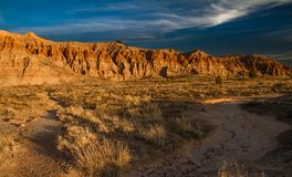 Dramatic desert landscape of Cathedral Gorge State Park at sunset in Nevada. USA royalty free stock photography