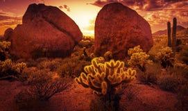 Dramatic desert scenery. Near Scottsdale red rock sunset Royalty Free Stock Photography
