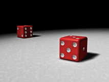 Dramatic dice. Red dice on the dark table stock illustration