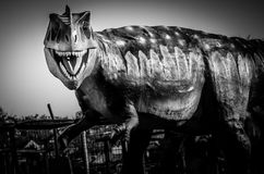 Dramatic dinosaur sculpture in black and white Royalty Free Stock Photography