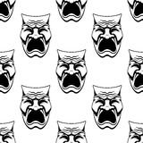 Dramatic doodle sketch masks seamless background Stock Photo