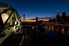 Free Dramatic Downtown Skyline At Sunset - Abandoned Cuyahoga River Lift Bridge In Cleveland, Ohio Stock Photography - 103007042