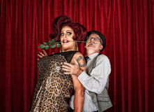 Dramatic Drag Queen with Man Stock Image