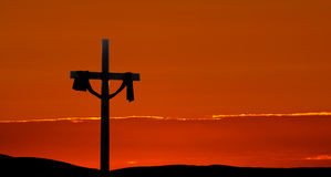 Dramatic Easter Morning Sunrise Panorama. Clouds and sunbeams shining on a cross for Easter morning Stock Photography