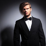 Dramatic elegant man in tuxedo and bow tie Royalty Free Stock Photography
