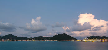 Dramatic evening at Philipsburg Sint Maarten Stock Photos
