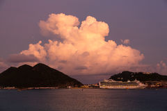 Dramatic evening at Philipsburg Sint Maarten Royalty Free Stock Photo