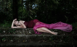 Dramatic evening scenery - sleeping pretty nymph royalty free stock images