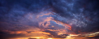 Dramatic evening sky. Dramatic panorama evening sky after sunset stock photography