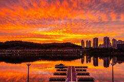 Dramatic evening view of Woncheon Lake reservoir park, suwon south korea
