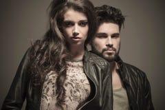 Dramatic fashion couple in studio Stock Image