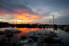 Dramatic Florida Resort Sunset. Dramatic Florida Sunset over marina Stock Photography
