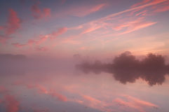 Dramatic foggy sunrise over wild lake Stock Photos