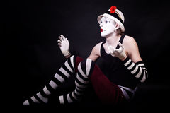 Dramatic funny mime in white hat Royalty Free Stock Photos