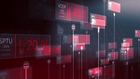Dramatic futuristic stock market red numbers falling - failing economy concept V2 vector illustration