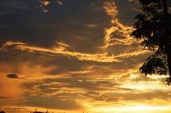 Dramatic golden sky Stock Image