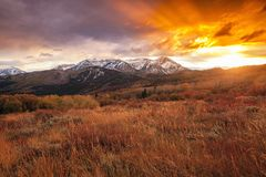 Dramatic golden sunset in the Wasatch Mountains, Utah, USA. royalty free stock photo