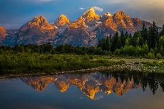 Dramatic Grand Teton Sunrise Stock Image