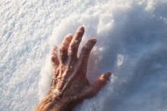 Dramatic hand in the snow. In the winter forest freezes people. Tragedy