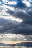 Dramatic heavy clouds above the landscape Stock Images