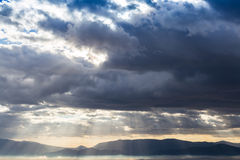 Dramatic heavy clouds above the landscape Stock Photo