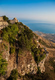 Dramatic hillside with historic church in Eurice, Sicily Royalty Free Stock Photography