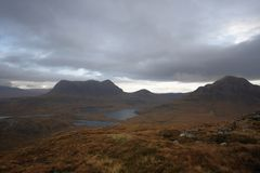Dramatic hilly landscape near Stac Pollaidh Royalty Free Stock Photo