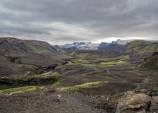 Dramatic icelandic terrain with volcanoes, canyons, glacial rivers, highland deserts and poor vegetation, on the Laugavegur Trail stock photos